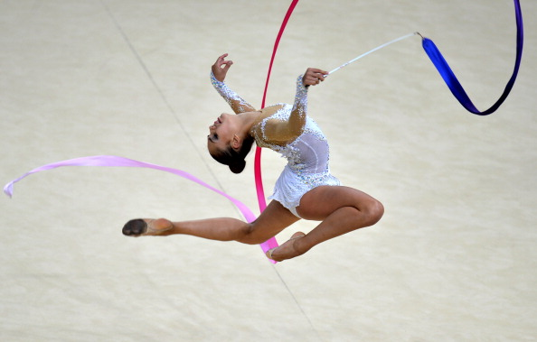 Margarita Mamun won her second individual gold of the Championships with the ribbon ©AFP/Getty Images