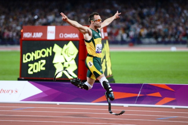 """Nicknamed """"Blade Runner"""" Oscar Pistorius was one of the biggest names in South African sport following his performances at London 2012 ©Getty Images"""
