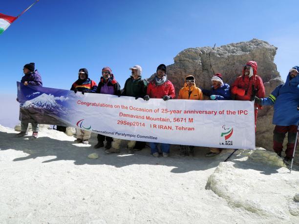 Nine Iranian athletes climbed Damavand Mountain to mark the IPC's 25th anniversary ©Iran NPC