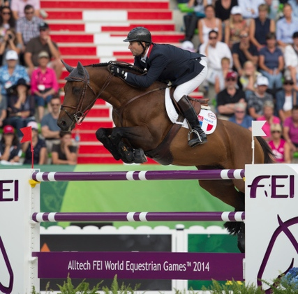 Patrice Delaveau booked a spot in the top-four jumping competition tomorrow after a strong performance at Caen today ©Dirk Caremans/FEI