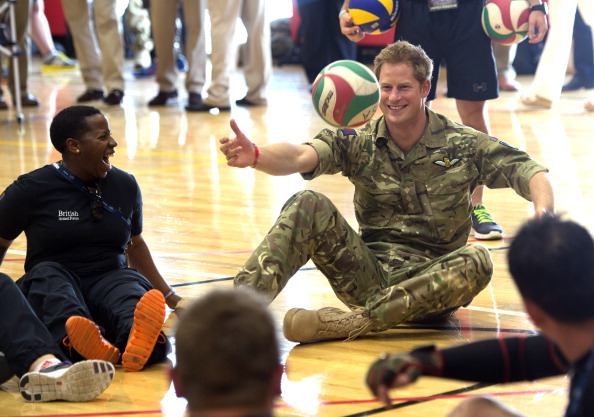 Prince Harry, pictured playing sitting volleyball, will try his hand at wheelchair rugby during a celebrity match on September 12 ©Getty Images