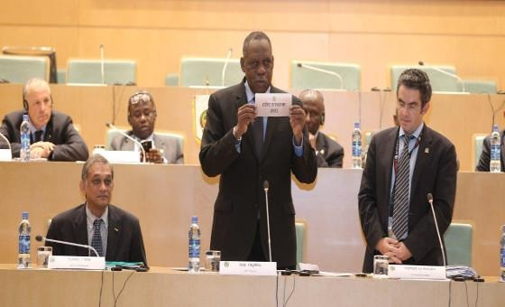 CAF President Issa Hayatou announced the Africa Cup of Nations hosts for 2019 2021 and 2023 following a meeting of the governing body's Executive Committee meeting ©CAF