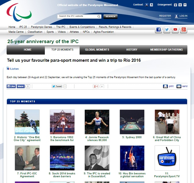 The IPC has been counting down the top 25 moments from the last quarter of a century on a special website ©IPC