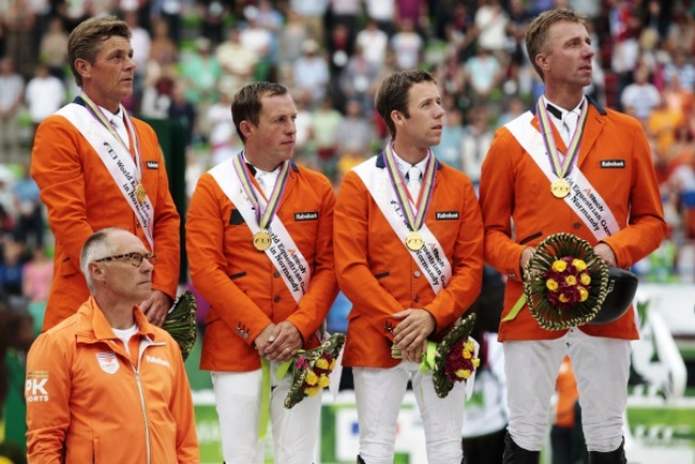 The Netherlands have claimed a second world team jumping title with victory in Normandy ©AFP/Getty Images