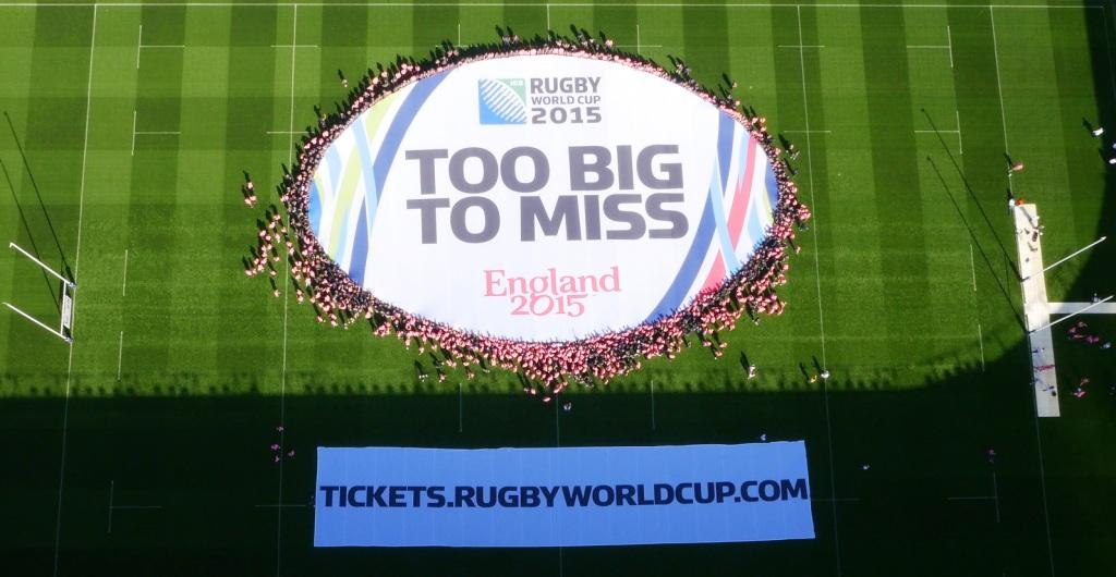 The world's largest scrum was created to mark the day tickets go on general sale for Rugby World Cup 2015 ©England 2015