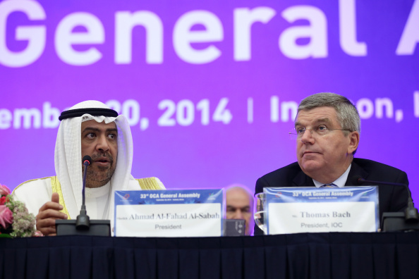 Thomas Bach, speaking alongside OCA President Sheikh Ahmad Al Fahad Al Sabah, at the General Assembly in Incheon ©Getty Images