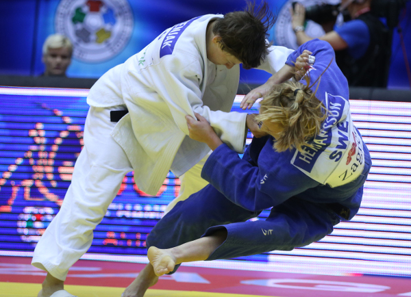 Slovenia's Tina Trstenjak won the opening contest of the day as she beat Sweden's Mia Hermansson to under 63kg gold ©IJF