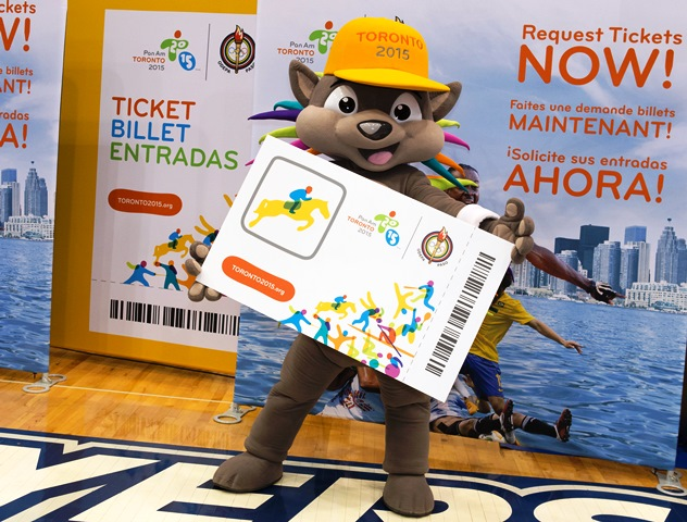 Toronto 2015 mascot Pachi was in Caledon to help launch the ticket sales process for next year's Pan American Games ©Toronto 2015