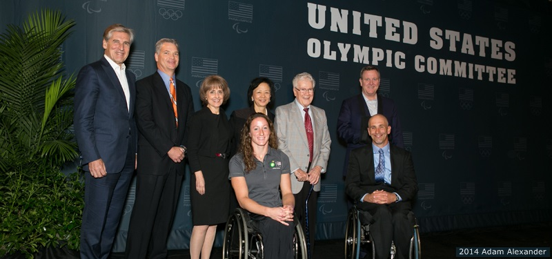 USOC Board member and Paralympic Advisory Committee Chairman Jim Benson, BP senior vice-president Corey Correnti, Tanya Gallagher, University of Illinois Chancellor Phyllis Wise, Disability Resources and Educational Services founder Tim Nugent, USOC chief executive Scott Blackmun, Tatyana McFadden and Adam Bleakney at the announcement of the University of Illinois as a US Paralympic Training Site ©USOC