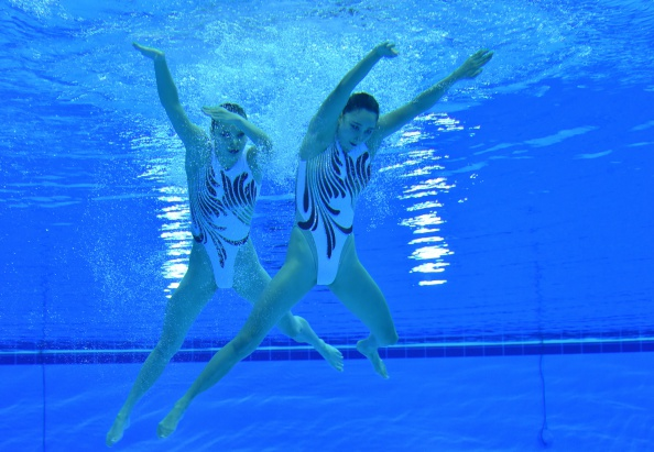 With a James Bond-style routine, China's Sun Wenyan and Huang Xuechen outfoxed the opposition to win gold in the duets synchronised swimming competition ©AFP/Getty Images