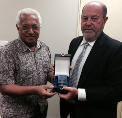 World Karate Federation President Antonio Espinos with Dr Robin Mitchell, Fiji's International Olympic Committee member and President of the Oceania National Olympic Committee ©World Karate Federation