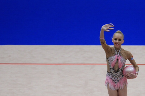 Yana Kudryavtseva tied with team mate Margarita Mamun in the ball final ©AFP/Getty Images