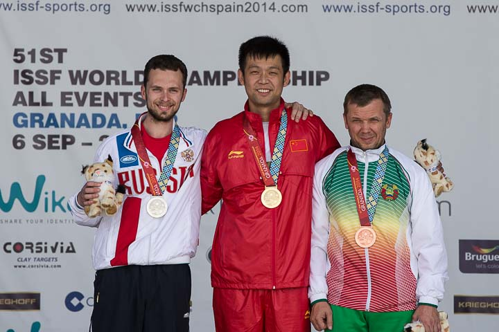Zhu Qinan secured gold in the 50m 3 positions rifle event at the ISSF World Championships ©ISSF/Michael Schreiber