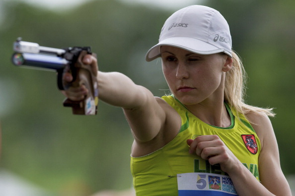 Lithuania's 2013 world champion and 2012 Olympic champion Laura Asadauskaite and her partner Justinas Kinderis won the mixed relay gold at the UIPM Modern Pentathlon World Championships today ©Getty Images
