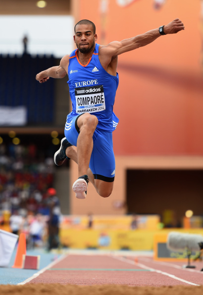 France's European triple jump champion Benjamin Compoare produced a personal best of 17.48m to take maximum points for Team Europe, who were runaway winners of the second IAAF Continental Cup in Marrakech ©Getty Images