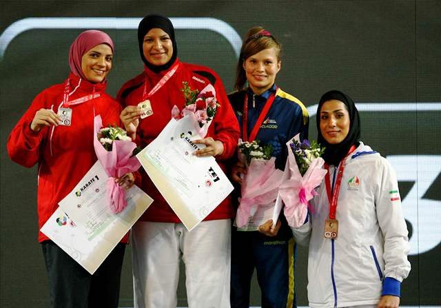 Nabil Ibrahim Aia of Egypt (second from left) prevailed in the women's over 68kg final in Istanbul