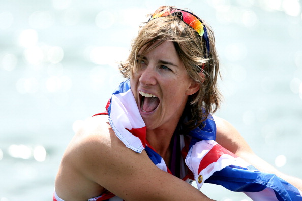 Katherine Grainger celebrates after winning gold at the London 2012 Games ©Getty Images