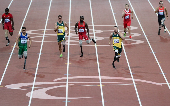 The IPC has said Oscar Pistorius, pictured third right at the London 2012 Paralympics, is free to return to competition once he has satisfied the South African legal system over the charge of culpable homicide for which he will be sentenced on October 13. But the IPC President has stressed that his organisation is not actively promoting the South African's return ©Getty Images