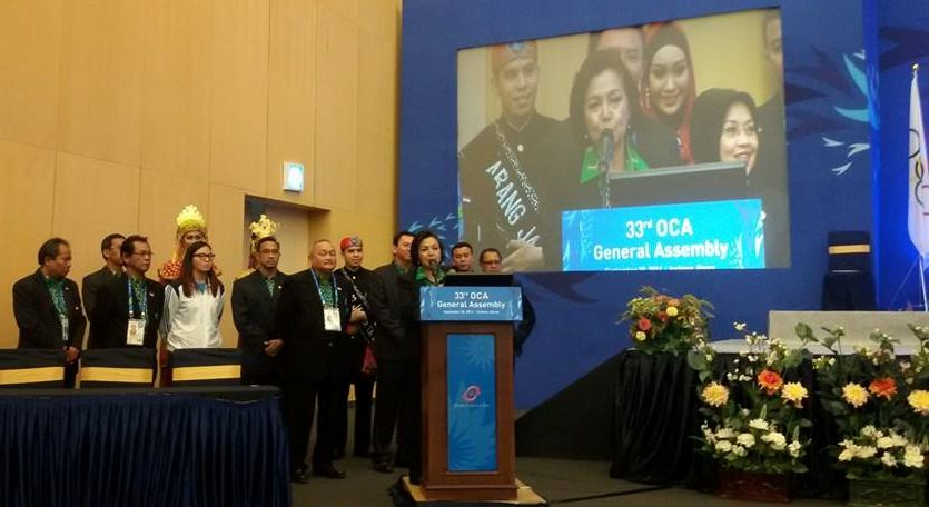 Indonesian Olympic Committee President Rita Subowo had led the Jakarta 2018 presentation to the OCA at the General Assembly in Incheon yesterday ©Facebook