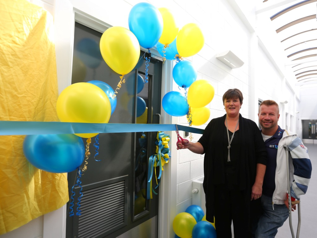 Lee Pearson and Headmistress Michelle Beard officially open the BT Multi-Sensory Room at Millstead School in Liverpool ©Dave Thompson