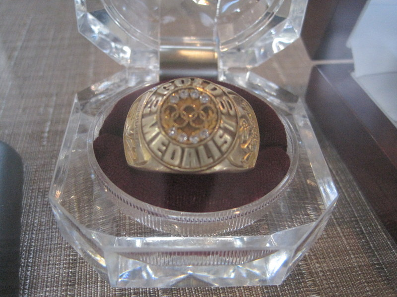 A commemorative ring celebrating Rulon Gardner's 2000 Olympic gold medal will be among items in the bankruptcy auction tomorrow ©Erklelens Olson Sales and Auction