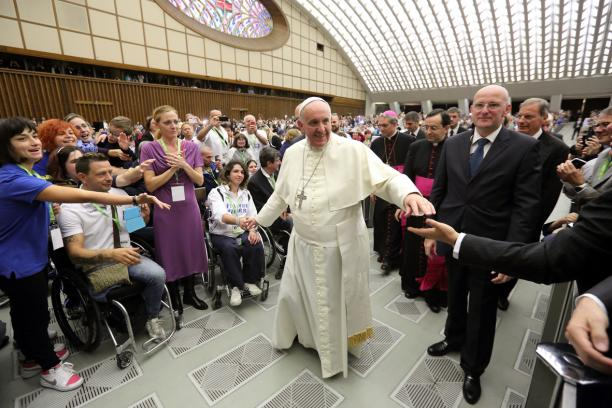 A group of Italian Para-athletes were among 3,500 people attending the Papal audience ©Italian Paralympic Committee