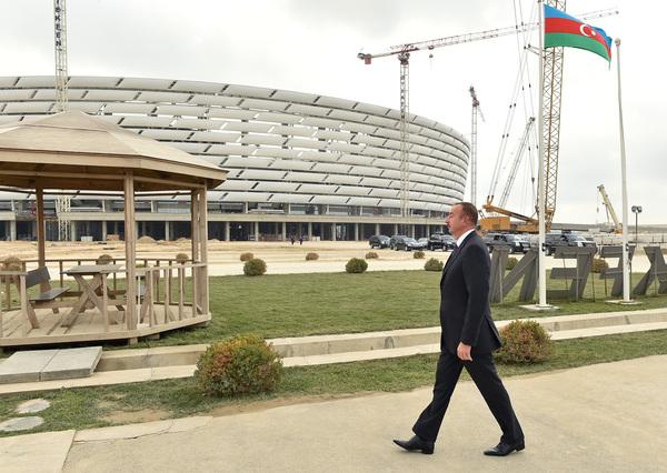 Azerbaijan Ilham Aliyev has visited the National Stadium in Baku ©President of Azerbaijan