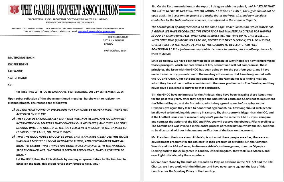 An extract of the letter sent to IOC President Thomas Bach by the President of The Gambia Cricket Association ©Gambia Cricket Association