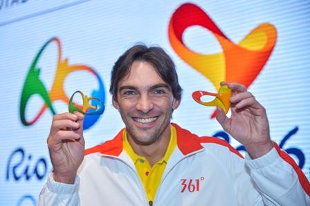 Brazilian volleyball star Giba was at the Rio 2016 headquarters for the announcement ©Rio 2016