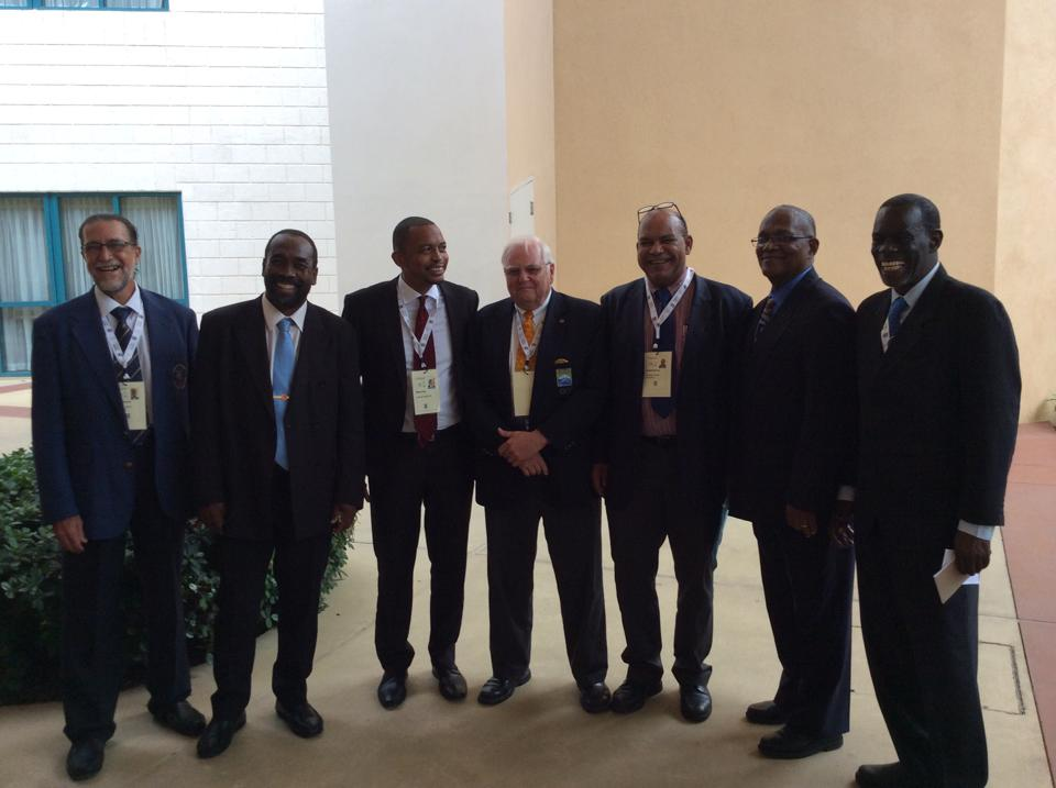 (From left to right) Angel Morales, Alfred Emmanuel, Brian Lewis, Steve Stoute, Donald McLean, Keith Joseph and Alphonso Bridgewater were elected as the new Executive of CANOC during the General Assembly at the Hilton Hotel in Bridgetown  ©BOA