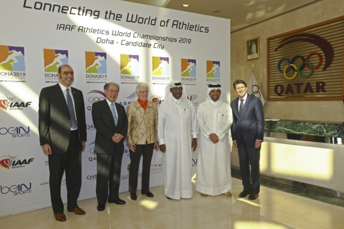 Dahlan Al Hamad (third right) pictured during the opening day of the IAAF Evaluation Commission visit today ©Doha 2019