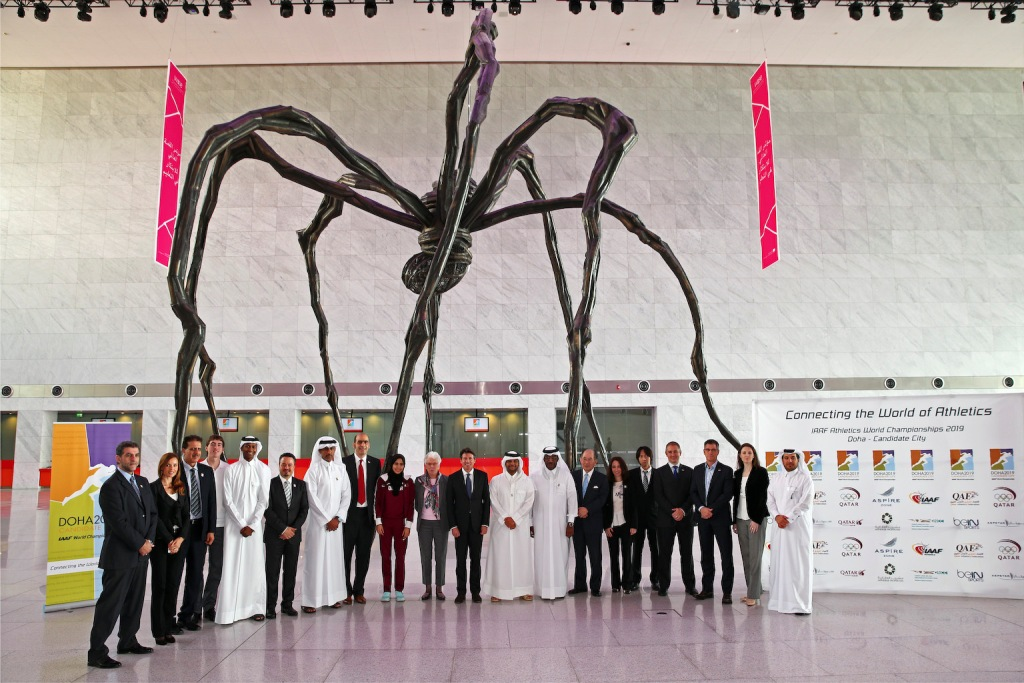 The International Association of Athletics Federations Evaluation Commission pose at the Qatar National Convention Centre on the second day of their inspection visit ©Doha 2019