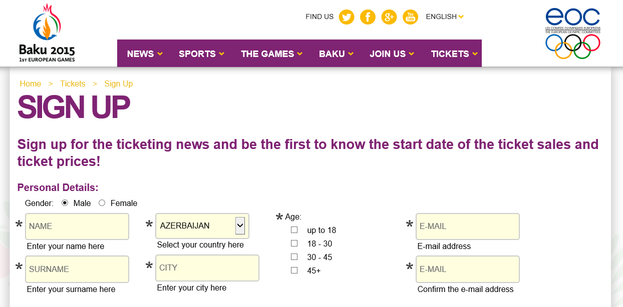 Fans will be able to register their interest in purchasing tickets for the Baku 2015 European Games by visiting the sign-up page ©Baku 2015