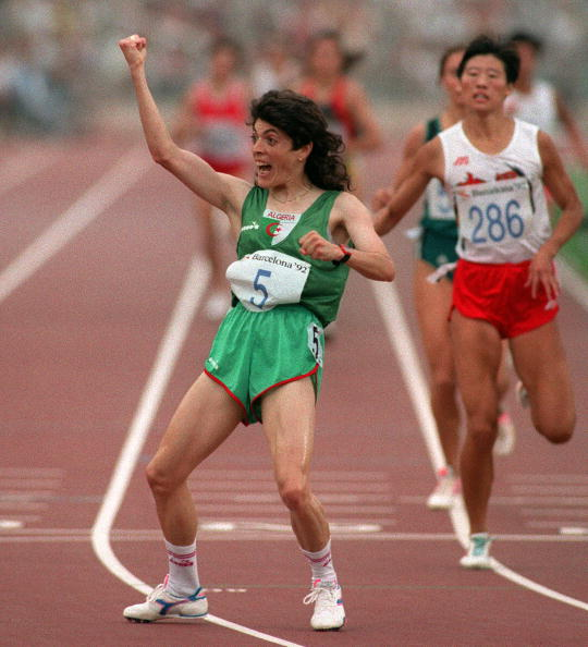 Hassiba Boulmerka won Algeria's first Olympic gold medal, 28 years after their debut, in the women's 1500 metres at Barcelona 1992 ©Getty Images