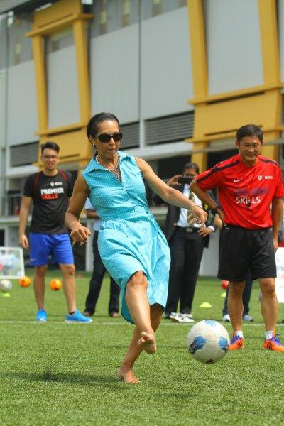 Helen Grant may be lower profile than some of her predecessors but she has not afraid to show off her skills as a sportswoman when given the opportunity ©British Council