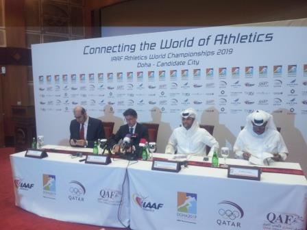 IAAF Evaluation Comission chief Sebastian Coe (second left) spoke alongside Doha 2019 and other IAAF officials following the conclusion of the inspection visit ©ITG