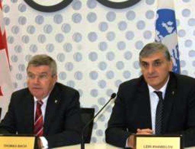 IOC President Thomas Bach met with GNOC President Leri Khabelov in Tbilisi to mark 25-year anniversary ©GNOC