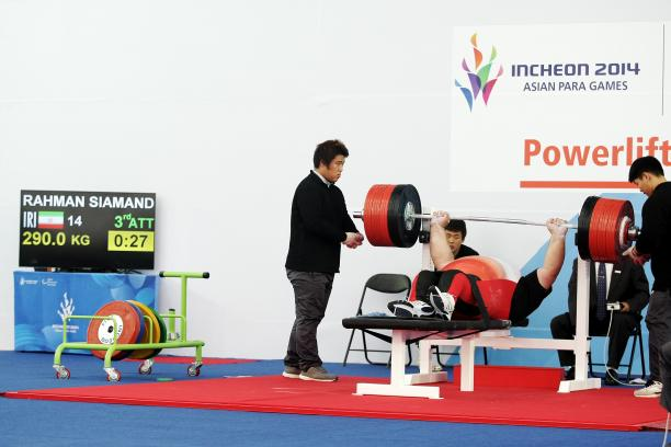 Iranian Siamand Rahman demonstrated why he is the strongest Paralympian in the world by lifting 292kg to claim gold ©Incheon 2014