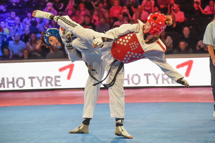 Jade Jones was beaten for the second consecutive year by Spain's Eva Calvo Gomez at the WTF Grand Prix in Manchester ©WTF