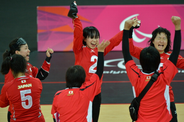 Japan celebrate winning the women's goalball final against China at the London 2012 Paralympic Games ©Getty Images
