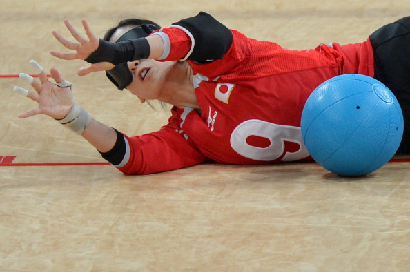Japan's Akiko Adachi blocks the ball during the women's goalball final at the London 2012 Paralympic Games ©Getty Images
