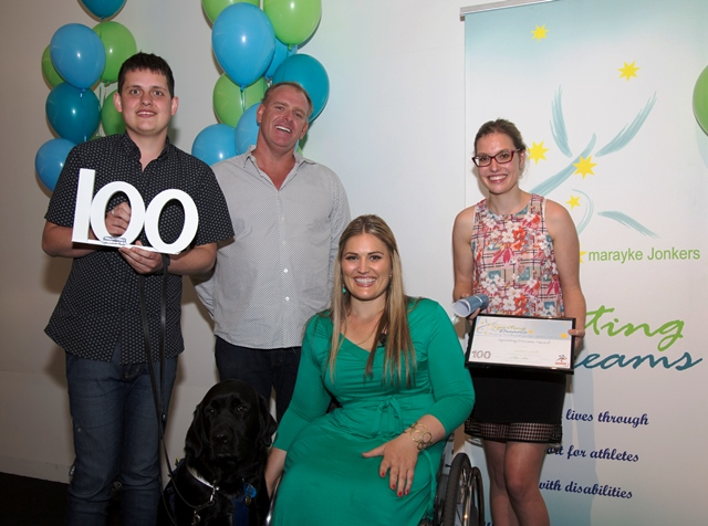 Jordan Carroll (left) received his grant from Maryake Jonkers (centre) and Rachel Dodds (far right) during a ceremony in Sunshine Coast ©Sporting Dreams