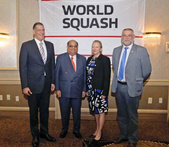 Linda MacPhail joins (from left to right) Mohamed El-Menshawy, N Ramachandran and Hugo Hannes on the WSF Board ©WSF