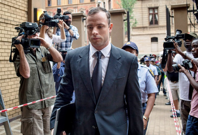 Oscar Pistorius enters court today as his sentencing hearing for killing Reeva Steenkamp continues in Pretoria ©Getty Images