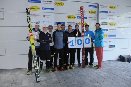 Philipp Groborsch (right), chief executive of the 2015 Winter European Youth Olympic Festival, joins in the 100-day celebrations ©EYOF 2015