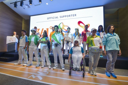 Rio 2016 pioneer volunteers model the 361° uniforms for the 2014 Youth Olympic Games in Nanjing ©Rio 2016