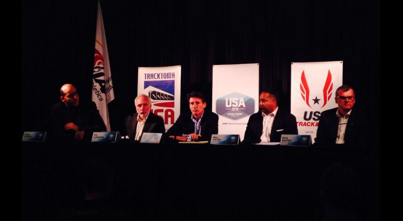 """Sebastian Coe (centre) has praised Eugene's bid to host the 2019 IAAF World Championships but warned they faced """"operational"""" challenges ©TrackTown USA"""