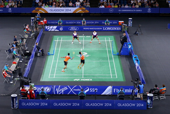 The Emirates Arena home of the badminton and track cycling at Glasgow 2014 is the proposed venue for the 2019 European Indoor Athletics Championships ©Getty Images