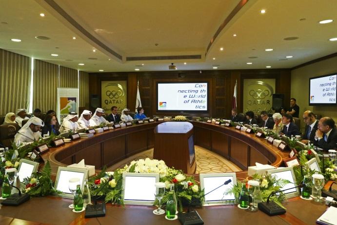 The IAAF Evaluation Commission discuss the Doha 2019 Bid with Qatari officials ©Doha 2019