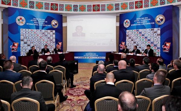 The draw taking place for the Astana Grand Prix, which begins in the Kazakh capital tomorrow ©IJF